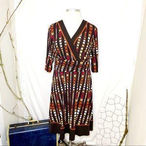 Studio I Fall Color 70's Retro Flare Dress 20W
